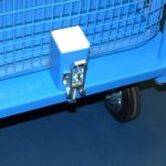 Hook style toggle latch attched to blue powder coated trolley