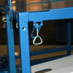 Draw latches welded to frame and blue powder coated