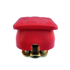 Quick release battery connector Red color cover to fit Positive battery pole for bolt on application.