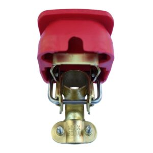 Set of Quick release battery clamps Red and black color covers Positive & Negative for bolt on application.