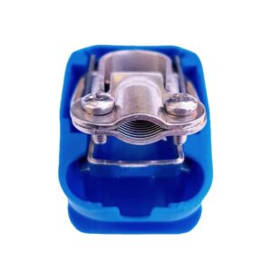 Quick release battery terminal clamp Blue color cover to mount on Negative battery pole for bolt on application.