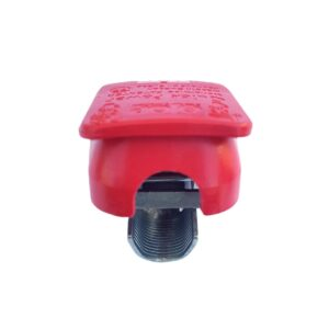 Quick release battery clamp Red color cover for mounting on Positive battery pole for crimp-down application.