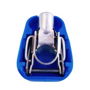 Quick release battery terminal clamp Blue color cover to lock on Negative battery pole for crimp-down application.