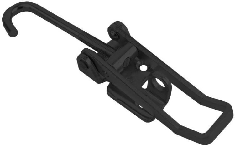 Hook style Toggle latch Black color Large size Steel countersunk holes with Hook screw