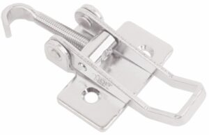 Chrome plated Tension latch Medium size Steel countersunk holes with Flat Hook screw