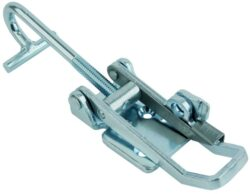 Toggle latch Zinc plated steel Large size countersunk holes with Bent T screw and safety catch